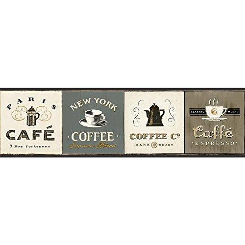 Preisvergleich Produktbild York Wallcoverings American Classics Kaffee Schilder Bordüre,  AM8642B