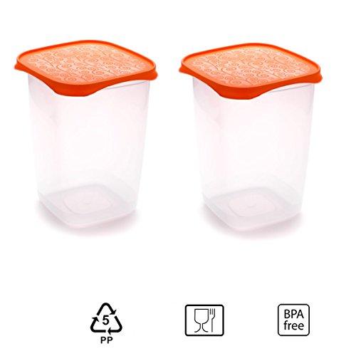 Set de 2 Coupelles hermeticos carrés avec couvercle orange de 2 litres - BPA Free.