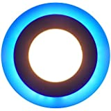 Premium Recessed LED Panel Light 3 Colors In 1 - White, Warm White And Blue (Round 4 Inches) 6 Watt