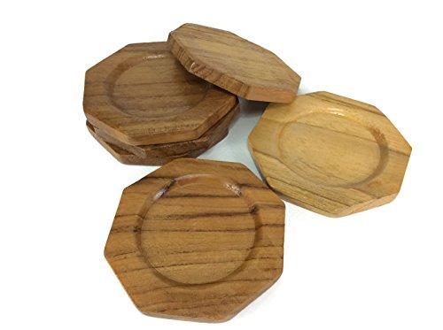 Untersetzer Holz Octagon Untertassen Drink Handarbeit Teak Holz Halter Spender Becher Halter 6Stück -