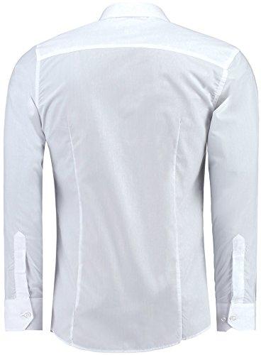 Jeel Herren Hemd Langarm Slim Fit / Figurbetont in schwarz, weiß,rot, gelb, blau uvm. Weiß