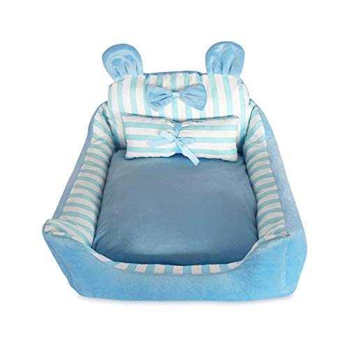 Creative Cartoon Pet Bed Cute Striped Bow Pet Nest Comfortable Removable  And Washable Four Seasons Universal,Blue,L