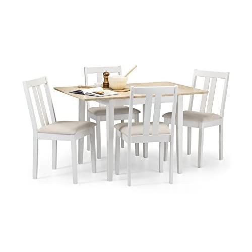 Julian Bowen 2-Tone Extending Dining Table with 4 Rufford Chairs, Wood, Ivory/Natural, 80 x 80 x 75 cm