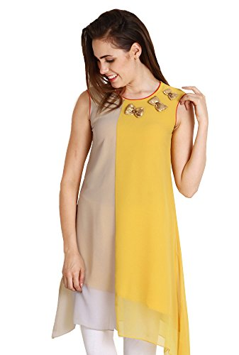 Aahwan Yellow & Beige Solid Georgette Kurti for Women (AC-1001) (Yellow, Small)
