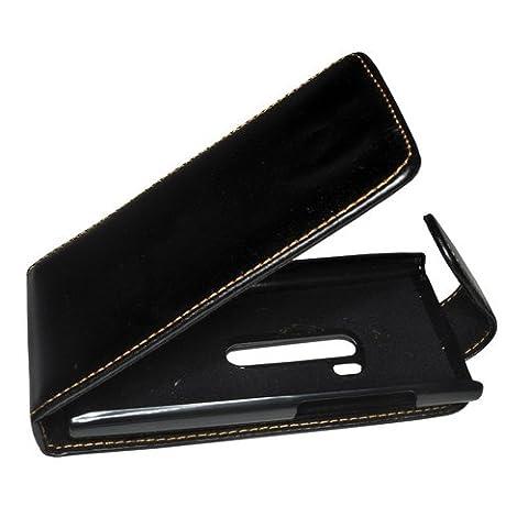 Flip Case Etui Handytasche Tasche Hülle für Nokia N9-00 (Schwarz)