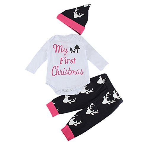 puseky Baby Jungen Mädchen First Christmas Body Outfit Kleidung 0-6 (Monate 0 Kostüme Baby 3)
