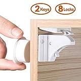 LATTCURE Baby Kindersicherung Magnetischer Schrankschutz Schrankschloss 8 Schlösser mit 2 Schlüssel für Schubladen und Schran