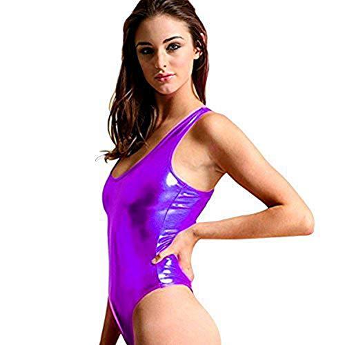 YiZYiF Damen Metallic Einteilige Badeanzug Bikini Lack Leder Body Overall Monokini Lila Einheitsgröße (Brust 74-100cm) (80er Jahre Tanz Kostüm Tragen)