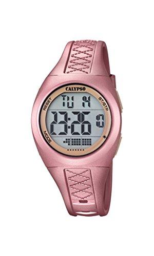 Calypso-Orologio digitale Unisex, con Display LCD digitale e cinturino in plastica, colore: rosa, K5668/4