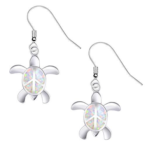 KELITCH Ohrringe Frauen 925 Sterling Silber Weiß Opal Cluster Edelsteine Nette Schildkröte Ohrstecker für Mädchen Kinder Ohrringe Stecker