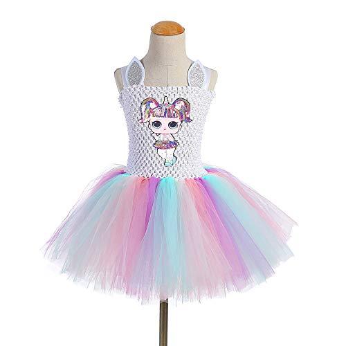 OL Rock Tutu Kleinkind Kinderkleidung Geburtstagsgeschenk Party Kostüm Alter 3-8 Jahre,unicorndoll3,100cm ()