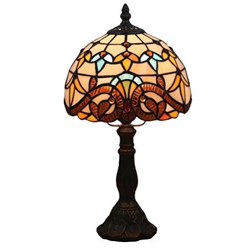 FABAKIRA Lámpara de Mesa 8 Pulgadas Estilo de Tiffany Europea Vintage Pastoral de Cristal Manchada Retro Lámpara de Mesita Dormitorio