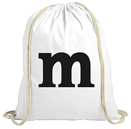 Beutel Kostüm M&m - Karneval Fasching Verkleidung Gymsac Turnbeutel Kostüm mit M Aufdruck, Größe: onesize,weiß natur