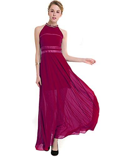 KAXIDY Robe Longue Femme été Sans Manches Mariage Robe de Soirée Robe Cocktail Robes de Cérémonie Vin Rouge