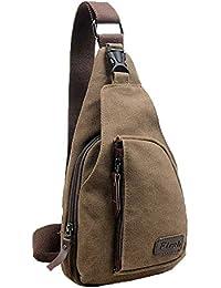 Lifelj Retro Canvas Chest Shoulder Satchel Sling Messenger Bag Multifunctional Unisex With Soft Zipper Fit For... - B01DC19JUU