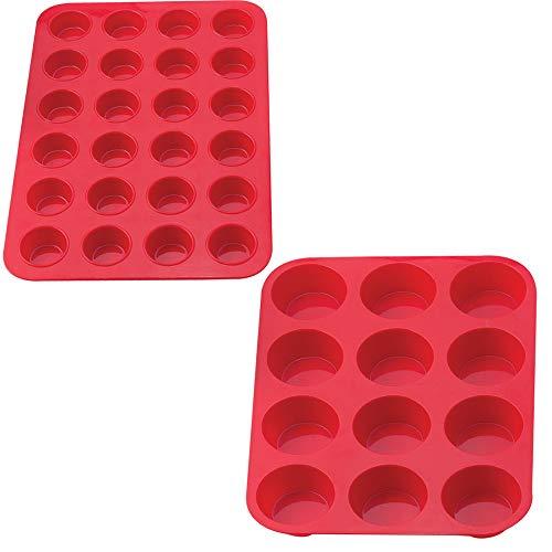 Silikon Backset 24 Mulden Mini Muffin-Backform und 12 Muffin-Backformen Antihaft Silikon - Popover-set