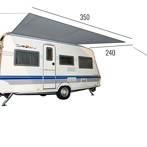 Sonnensegel für Wohnwagen & Wohnmobil grau 3,50 x 2,4 , für Kederleisten 7 mm,Wassersäule 2000 mm - 8