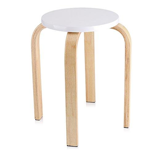 Cocoarm Hocker Sitzhocker Holzhocker Stapelhocker Küchenhocker Wohnzimmer Möbel Dekoration 45.5 x 30 cm 4 Farbe (Weiß)