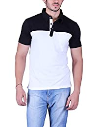 Vivid Bharti Men's Check Black White Collar 2 Color Cotton T-Shirt (Premium Quality T-Shirt)