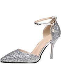 BIGTREE Peep Toe Damen Pumps von Platform Pumps Lackleder Hochzeit High Heels Silber 40 EU
