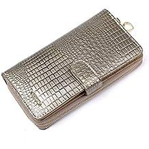 14d5d42f0e1c0 Cvthfyk Lange Multi-Card Lackleder Damen Geldbörse Leder Tasche  Reißverschluss Clutch Leder Geldbörse Tasche (