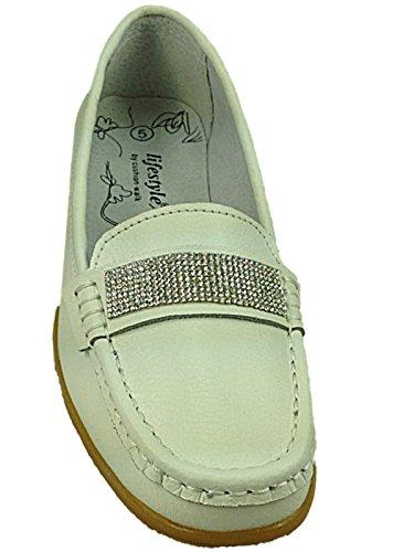 Cassie Chaussures bateau en Cuir véritable à gland à enfiler Dimante:White