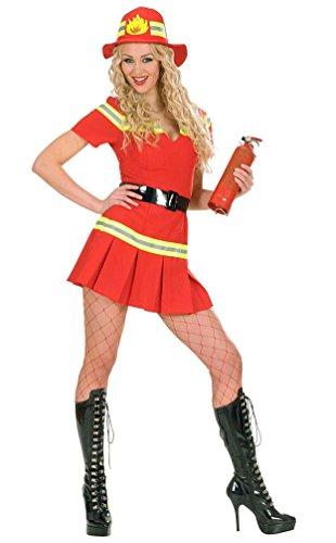 euerwehr Damen Kostüm sexy Feuerwehr-Frau rot Uniform Kleid, Gürtel inkl. Feuerwehr-Helm Größe 38/40 (Frau Halloween-kostüm Feuerwehrmann)