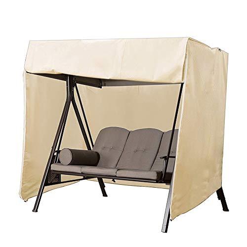 QEES Terrassenschaukel, strapazierfähig, 3-Sitzer-Hängematten-Abdeckung, Gleiter Überdachung, Terrassen-Möbel-Abdeckung, wasserfest, Beige