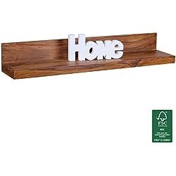 FineBuy estante de madera maciza pared estante de madera de 110 cm Sheesham estilo rural amplia estanter'a de pared real de madera tablero de la pared Wandkonsole producto natural de color marr—n oscuro Brett bastidores sin tratar para colgar œnico de almacenamiento