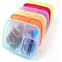 ASOSMOS Crisper Kunststoff Lunchbox PP separate Lunchbox mit drei Grid Lunchbox Mikrowelle Container Lunchbox spülmaschinenfest und wiederverwendbar 6 Pieces