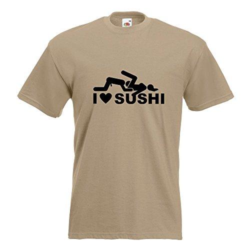 KIWISTAR - I Love Sushi Motiv2 T-Shirt in 15 verschiedenen Farben - Herren Funshirt bedruckt Design Sprüche Spruch Motive Oberteil Baumwolle Print Größe S M L XL XXL Khaki