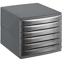 Rotho Quadra 10800MK000 Cajón archivador de oficina, poliestireno, formato A4, alta calidad, aprox. 37 x 28 x 25 cm, plástico, antracita, 6 Schübe