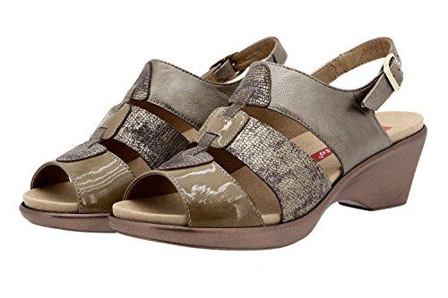 Scarpe donna comfort pelle Piesanto 8855 sandali soletta estraibile comfort larghezza speciale Taupe