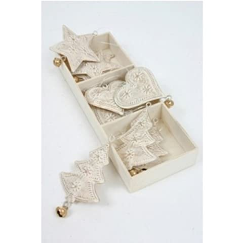 Christmas Tree Decorations - Metal Stars, Hearts & Trees With Bells, Antique White Distressed With Gold - Set of 9 (FF120)