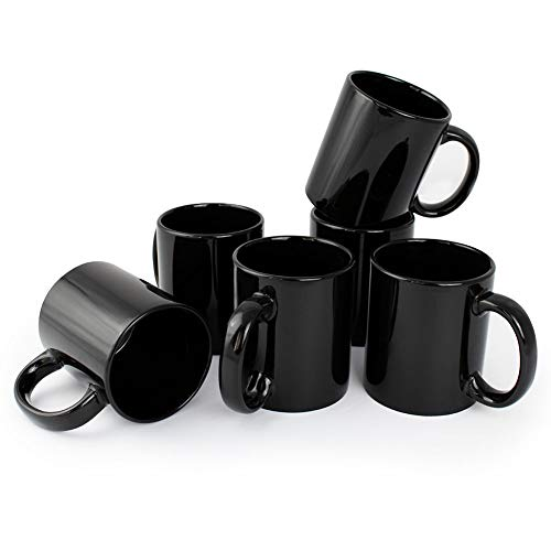 Werbewas 6er Set Schwarze Keramik Kaffeetassen ohne Druck - zum bemalen und basteln geeignet - Simple Kaffeebecher zum Personalisieren - 300ml - Tassen/Becher/Pott für Kaffee, Tee und mehr