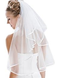 "Flora 1-Tier Satin Edged Plain Designer Bridal Veil,28""L Waist Length"