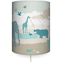 Anna Wand Wandlampe HELLO AFRIKA BEIGE/TÜRKIS/GRAU U2013 Wandlampenschirm Mit  Stoffkabel Zum Aufhängen