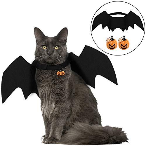 Legendog Halloween Katze Kleidung, Katze Fledermaus Kostüm | Haustier Fledermausflügel mit 2Pcs Pumpkin ()