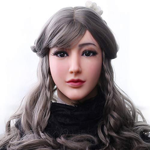 FHSGG Crossdresser Realistische Silikon Weibliche Maske Engelsgesicht Maskerade Halloween Cosplay Drag Queen Crossdresser Abdeckung Gesichtsnarben