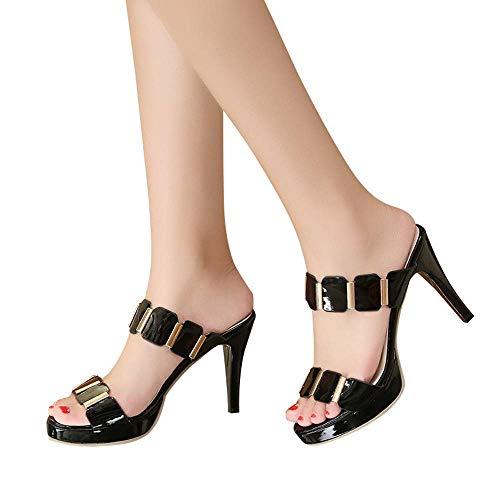 HILOTU High Heel Sandalen Für Frauen Elegante Gemütliche Atmungsaktive Anti-Rutsch-Sandalen Zum Überziehen Sommer Mode Klassiker Einfarbig Lässig Sandalen (Color : Schwarz, Size : 40 EU)