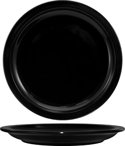 ITI CAN-6-B Cancun Narrow Rim Dinner Plate, 6-1/2-Inch, 36-Piece, Black by International Tableware Inc.