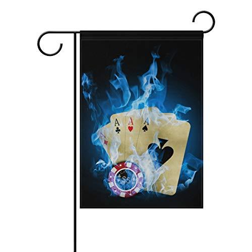DEZIRO Casino Poker Blue Fire Yard Flag Custom Garden Flag Double Side, Polyester, 1, 28x40(in)