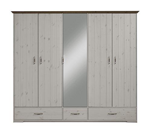 Steens Hanstholm Kleiderschrank, 5 Türen, 238 x 206 x 61 cm (B/H/T), Kiefer massiv, - Holz Aus Vintage Kleiderschrank