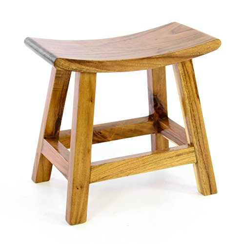 divero Hocker Sitzhocker Holzhocker Badhocker Duschhocker Schemel - Suar Holz massiv behandelt reine Handarbeit - braun