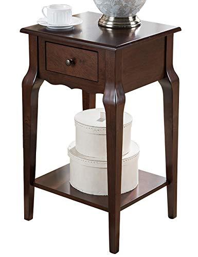Sofa latéral/côté Armoire/Petite Table carrée, Table de lit en Bois Massif Petite Table Basse (42,5 × 37,5 × 71 cm)