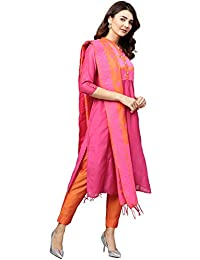 7334befa33 Jaipur Kurti Women Pink   Orange Solid Straight Chanderi Kurta with Pant  Dupatta