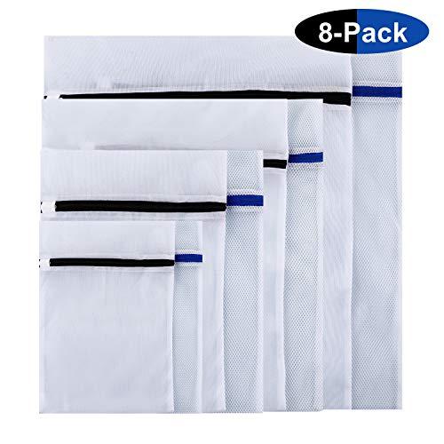 8er Wäschenetz Set Wäschesäcke für Waschmaschine mit Reißverschluss Blau/Schwarz MEHRWEG