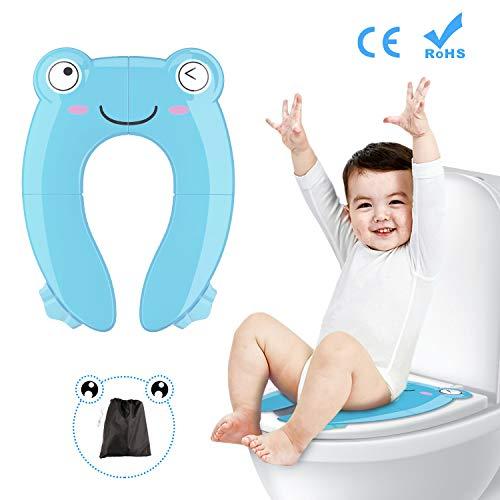 Fansteck Kinder Toilettensitz, Faltbarer Toilettentrainer für Unterwegs, Tragbar Reise WC Sitz Kleinkind Töpfchentrainer mit Aufbewahrungstüte und WC Sitzbezüge (Blau)