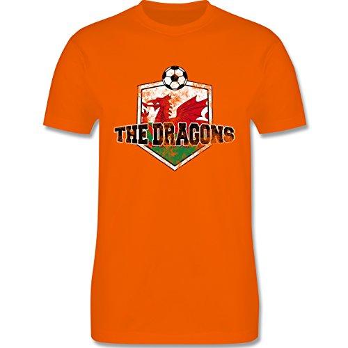 EM 2016 - Frankreich - Wales- The Dragons Vintage - Herren Premium T-Shirt Orange