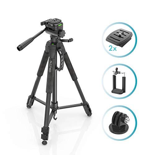 Stativ Kamerastativ für Canon I Fotostativ für Spiegelreflexkameras Tripod mit 165cm Höhe inkl. Handy-Halterung, GoPro-Adapter, 2 Schnellwechselplatten I Farbe Schwarz (Hohe Stativ)